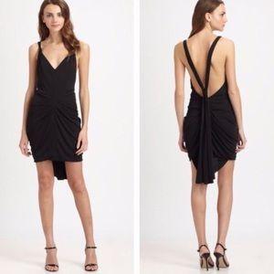 BCBG MAXAZRIA Black Draped Ruched Mini Dress